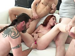 Slutty redhead gang banged in poikilothermal scenes