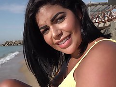 Public Agent a Blind Date for Latina with Huge Innocent Boobs