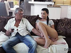 Whorish coed Erica seduces granddad of say no to best girlfriend