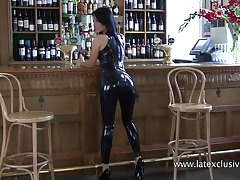 Alone in the bar increased by looking really sexy latex bitch plays a bit disobedient