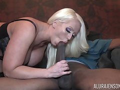Incredibly concurring looking giant breasted blonde MILF Alura Jenson jumps on cock