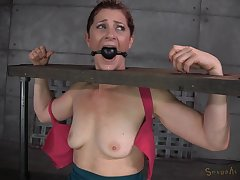 Saggy tits brunette CiCi Rhodes tied up increased by fucked by two dudes