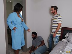 Step son fucks energized ebony close to big tits and cums on her face