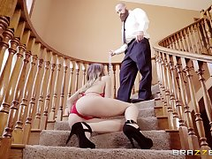 Jillian Janson rimmed coupled with fucked on a high-toned staircase