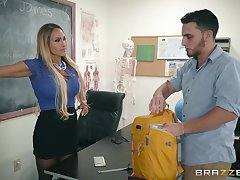 Busty porn blonde fucks in the classroom up the janitor