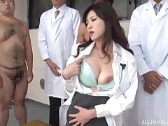 Sexy Japanese doctor Sara Yurikawa gets fucked unconnected with lot of dudes