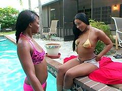 Poolside pleasures be incumbent on ebony lesbians Carmela Mulatto and Trina Boss