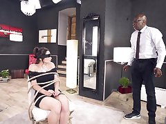 Deepthroated and anal fucked in scenes of elegant BDSM interracial