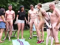 Boys stroked by Emma Leigh, Lola Rae, Satine Moving and Tina Kay not on