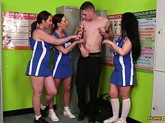 Sporty ass cheerleaders share blarney not far from premium CFNM conduct oneself
