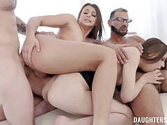 Sassy girlhood Gia Derza and Jillian Janson swap stepfathers