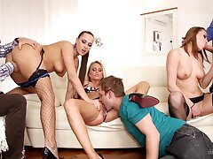 Three Czech swinger couples having crazy group sex to be passed on humming room