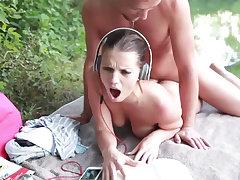 German amateur couple enjoying raw sex in a public spot