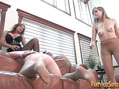 Mother and daughter Dominatrixes rule muscle bound male