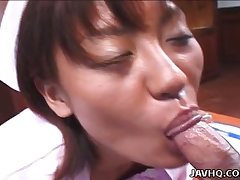 Giggling sudden haired Japanese nurse Reimi Aoi gets bushy pussy fingered
