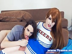 Cheerleader Tgirl Got a Nice Head and Hand