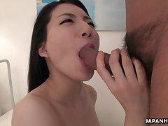 Awesome chesty Japanese brunette Yuuki Fuwari moans during prebendary copulation