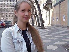 Bony German teenage with blondie hair, Kinuski enjoys to get down on her knees and suspire schlong