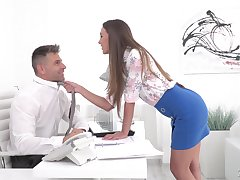 Sexy secretary Karina Grand enjoys sexual congress with their way colleague in their way office