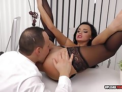Arousing babe at the office gets plowed hard - hard light of one's life