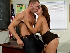 Milf teacher gets naughty with one of her students