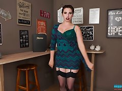 Chubby redhead Chalky exposes her big rack and awesome big boobies