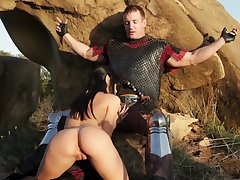 Medieval maiden Sadie West gives a blowjob relating to knight in shining armor