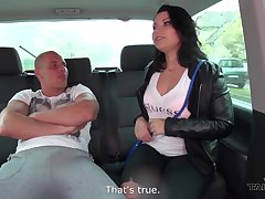 Nasty hitchhiker Amy gives a blowjob and gets fucked in dramatize expunge back seat