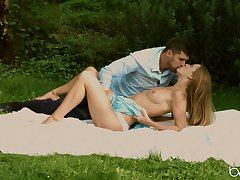 Sweet outdoor sex personify for a slim doll on animation