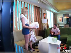 Ruinous nanny Charlotte Sins gives a blowjob to horny married guy Johnny Castle