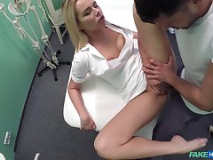 Nurse takes a hard cock of her patient hither her mouth and cunt