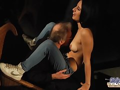 Kinky cur� has hired a sexy brunette to swell up his cock and let him fuck her