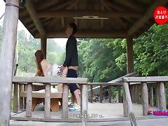 Horny chick enjoys an intense tight ass fuck outdoors
